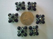 2 Hole Slider Beads Flower Black Crystal Made with Swarovski Elements #6
