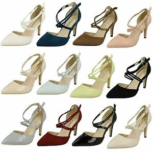 LADIES-SIZE-ANNE-MICHELLE-SLIM-HEELS-POINTED-TOE-EVENING-COURT-SHOES-F10551