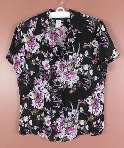 TB04920-JONES-NEW-YORK-Womens-Silk-Short-Sleeve-Blouse-Multi-Color-Floral-Sz-10