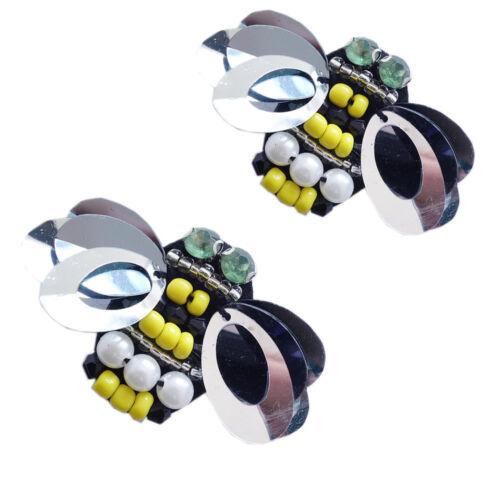 1 Paar Schuhclips Biene Schwarz Gelb Perle Pailetten Sporty Chic Casual  SL-507