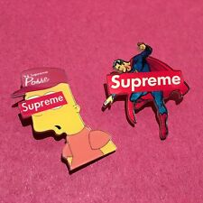Supreme Pin Combo Set Box Logo Skateboard Backpack Superman Bart Simpson
