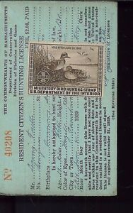 Massachusetts state duck stamp rw6 used on 1939 hunting for Mass fishing regulations