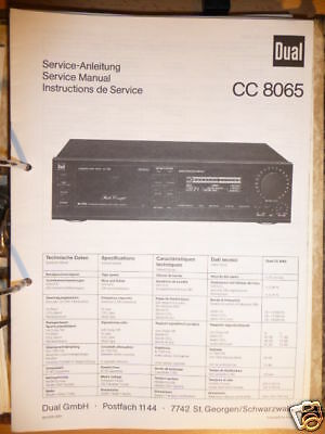 Tv, Video & Audio Frank Service-manual Dual Cc 8065 Tape Deck original!