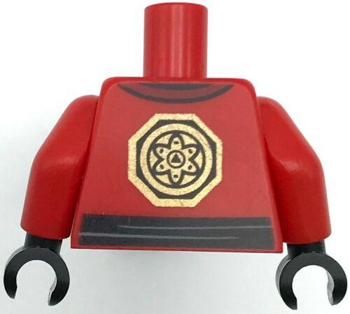 Lego New Red Torso Ninjago Robe Asian Characters Black Sash and Gold Emblem
