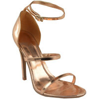 Womens Ladies Rose Gold Barely There High Heel Party Sandals Ankle Strappy Shoes
