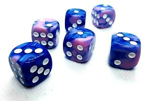 5-RPG-juego-de-dados-kniffel-Yahtzee-balon-w6-16mm-DSA-azul-rosa-dice-4-Friends