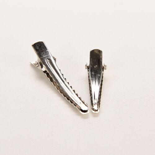 50 Single Prong Crocodile Alligator Bow Teeth Hair Clips Silver Metal DIY tools