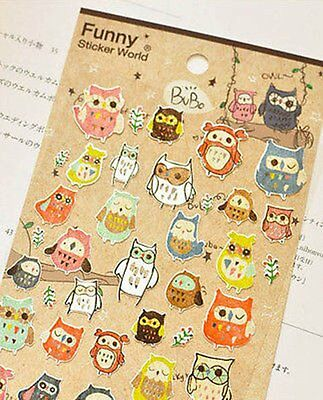 1 x colourful owl occult birthday gift novelty lovely  stickers scrapbook #146
