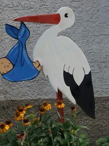 Storch holz mit baby,100cm Weissstorch,Klapperstorch,