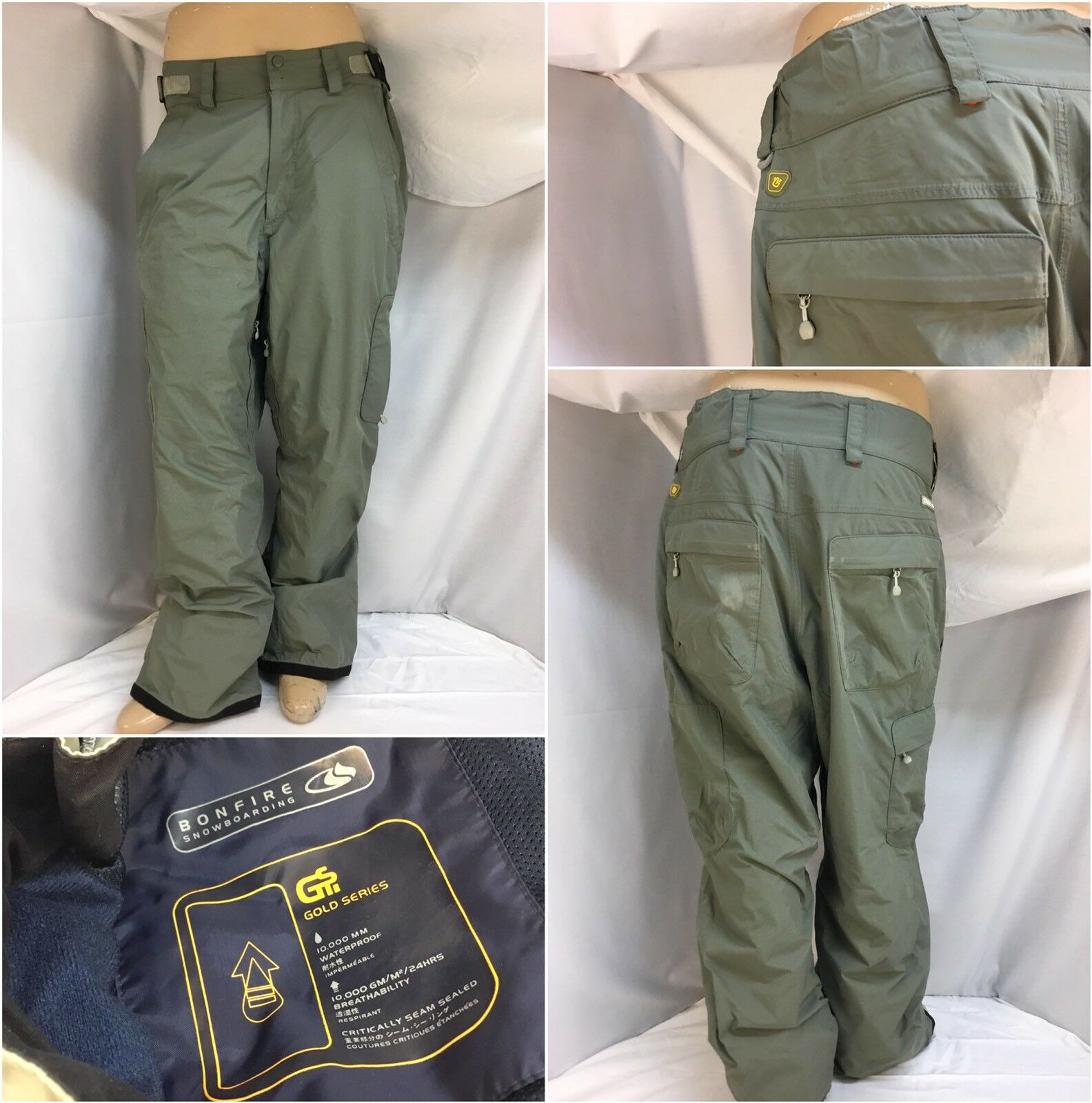 Bonfire Snowboarding Pants L Olive Gold Series 36x32 10,000 MM EUC YGI 9895