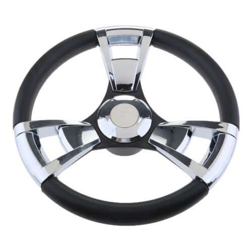 """ABS Boat Steering Wheel Polished 3 Spoke 3//4/"""" with Center Cap for Boat"""