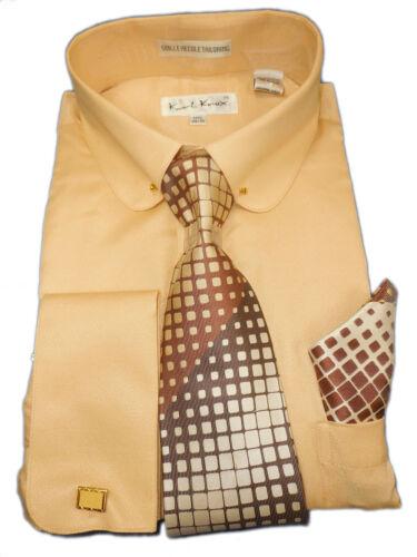 Details about  /Mens Karl Knox Sand Beige F//C Dress Shirt Club Pin Collar Geometric Tie SX4404