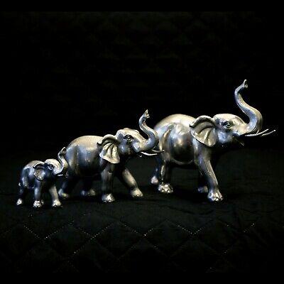 3pc Silver African Elephant Family Ornaments Safari Animals Statues Home Decor