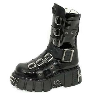 New-Rock-Womens-M-144-C1-Black-Cow-Leather-Boots-Goth-Punk-Gothic-Shoes-SO