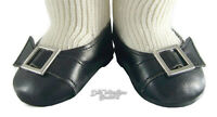 Black Colonial Buckle Shoes For American Girl Elizabeth Caroline Doll Clothes