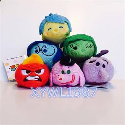 "Tsum Tsum Pixar INSIDE OUT JOY Fear Disgust ANGER Sadness 3.5"" Mini Plush Toy"