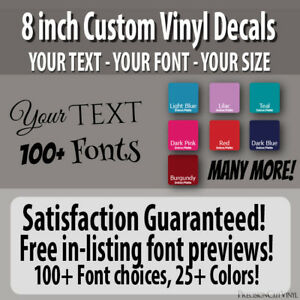 8 In Custom Vinyl Lettering Text Vinyl Wall Decal Window Sticker