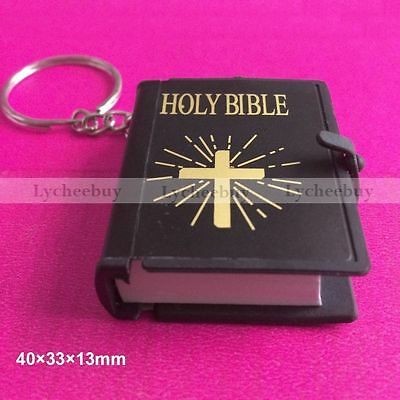 Mini Bible Keychain English HOLY BIBLE Religious Christian Jesus Black Cover 1pc
