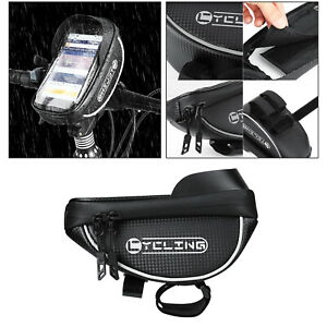Bike Phone Mount Bag Pannier Top Tube Bag Bicycle Accs with Reflective Tape