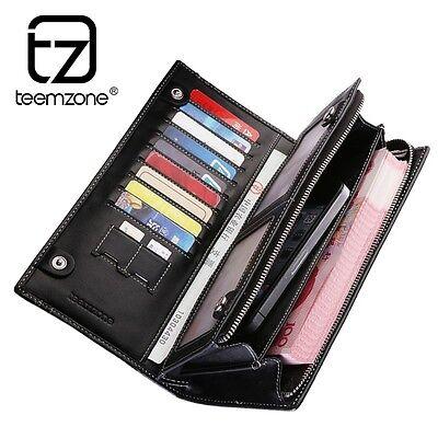 Genuine Leather Men Bifold Wallet Casual Brand Checkbook Holder Billfold Handbag