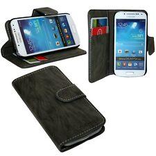 Book-Style Handyhülle Samsung Galaxy S4 Mini i9195 + Displayfolie // Anthrazit