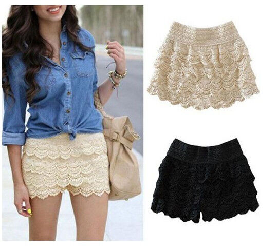 New Black Beige Dress Sweet Cute Crochet Tiered Lace Shorts Skirts Short Pants