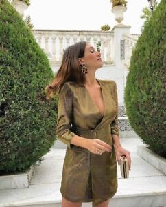 ZARA WRAP STYLE GOLD BELTED METALLIC THREAD BLAZER DRESS V NECK 8573/571