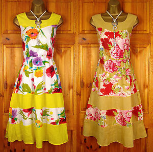 NEW-EXCHAINSTORE-YELLOW-PINK-RED-WHITE-BLUE-GREEN-FLORAL-SUMMER-COTTON-SUN-DRESS