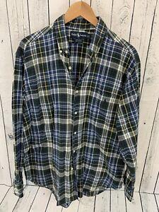 Ralph-Lauren-Marlowe-Button-Front-Shirt-Long-Sleeve-Men-039-s-Sz-L-Plaid-Green-V1