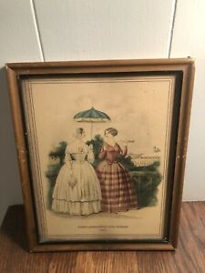 Vintage-Antique-1851-GODEY-039-s-Americanized-Paris-Fashions-Lithograph-Framed-Print