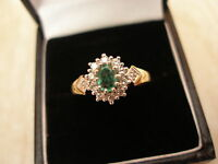 9 Carat Gold Emerald & Diamond Cluster Ring Brand In Box Made In England
