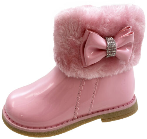 BABY GIRLS INFANTS TODDLER DIAMANTE BOW ZIP UP FLAT ANKLE BOOTS SHOES SIZE