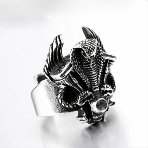 Men/'s Fashion Steampunk Stainless Steel Jewelry Skull Vintage Silver/&Black Rings