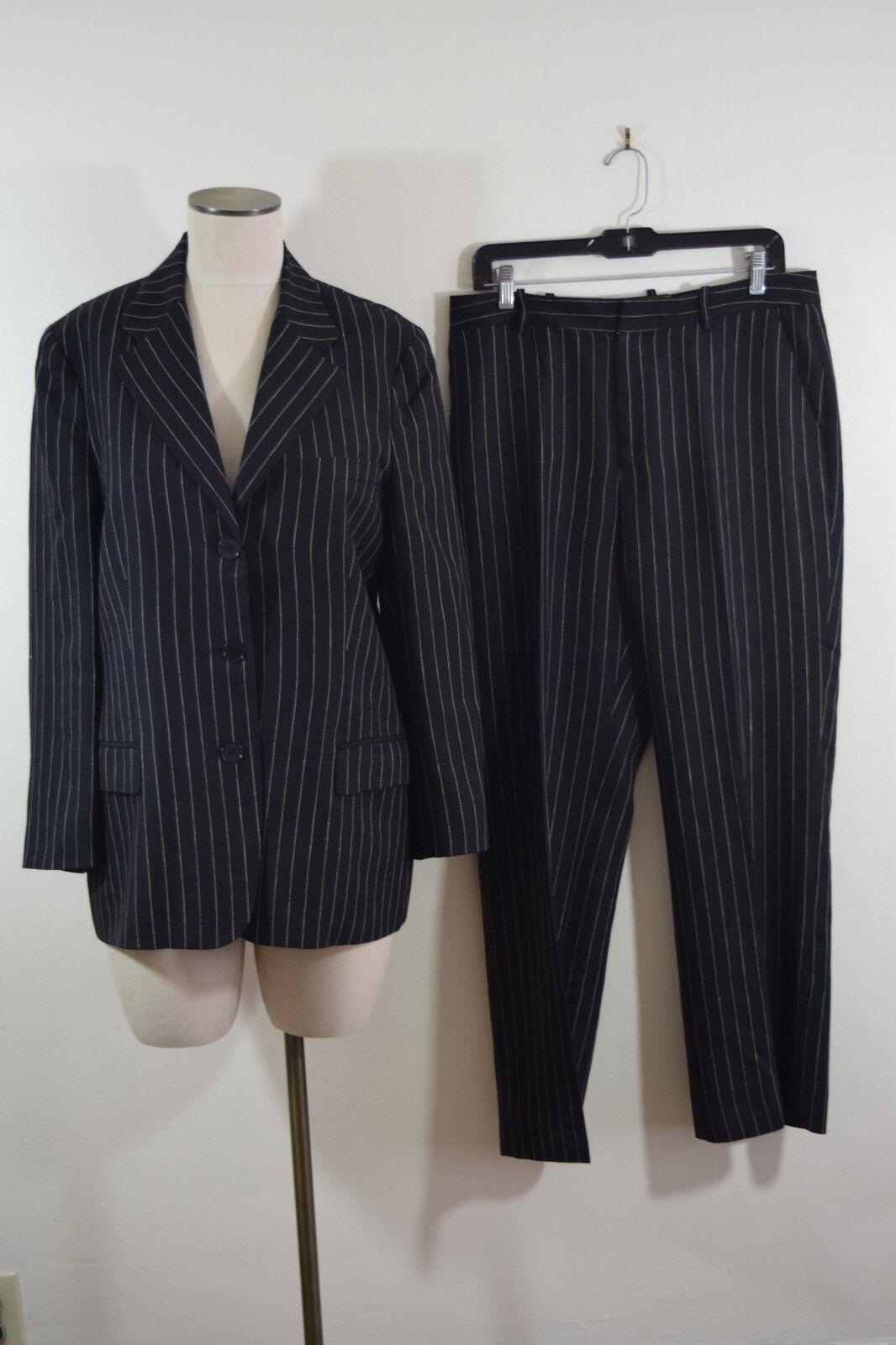 Ralph Lauren Womens Wool linen Black Striped Care… - image 7