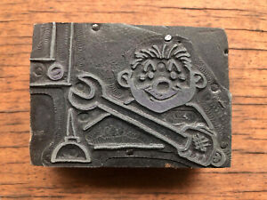 Vintage PRINTERS BLOCK Man Machanic w/ wrench and can of drip oil