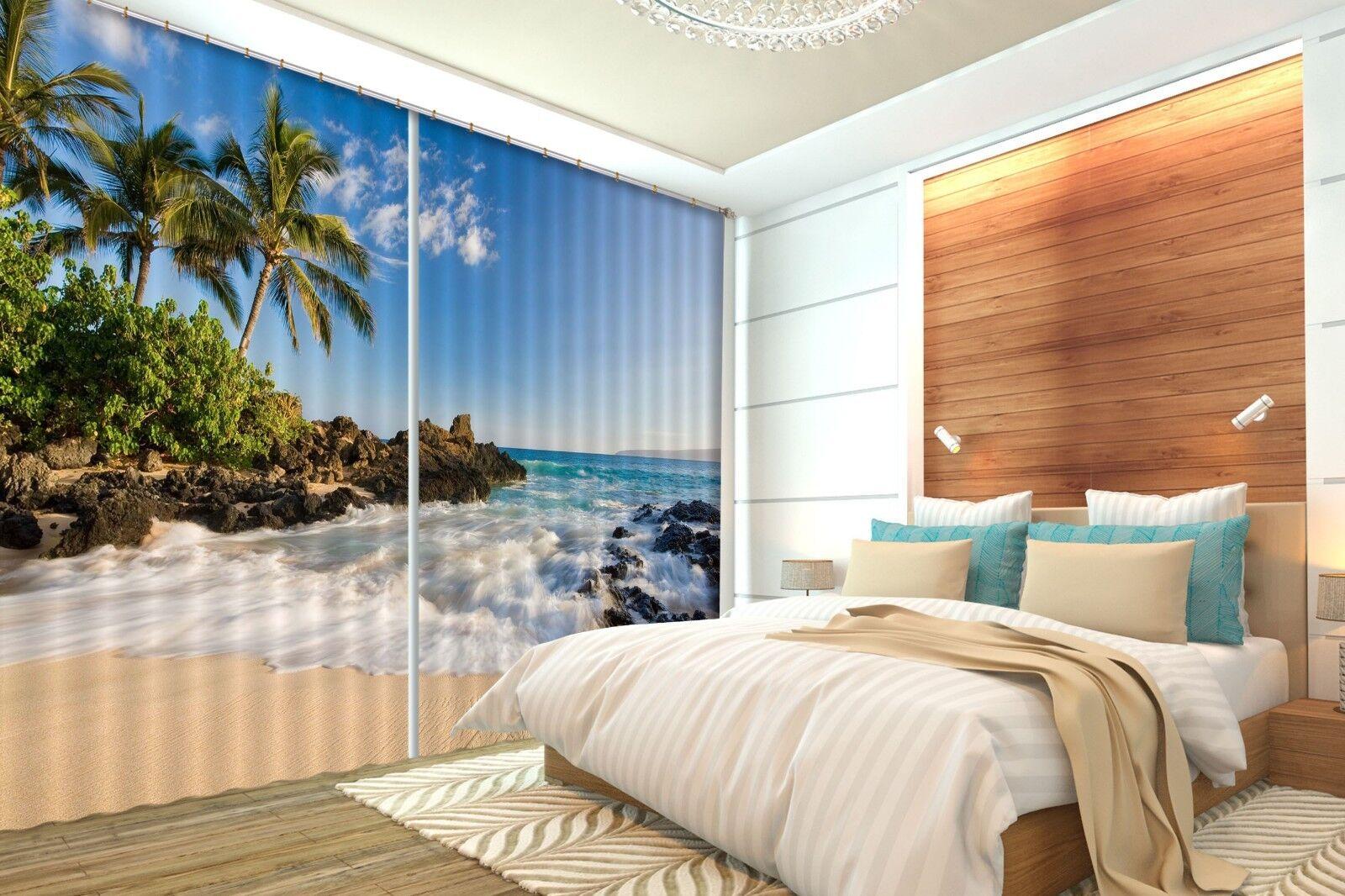 Beach Palm Mar 3D 201 Cortinas de impresión de cortina de foto Blockout Cortinas nos Limón