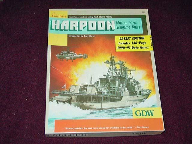GDW  1987 - HARPOON - Modern Naval Wargioco Rules (UNPUNCHED) by Larry Bond  consegna e reso gratuiti