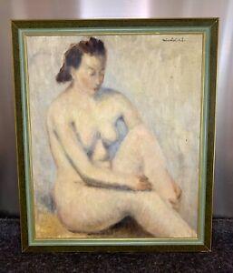 Élégante huile sur toile représentant une femme nue, signée Nicolaï .E.L