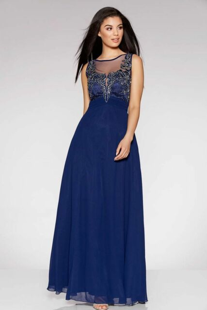 97c88126d1e Quiz Navy Chiffon Embellished High Neck Tulle Maxi Dress UK Size 10 Td172  Mm 13 for sale online