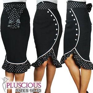 Plus-Size-Black-High-Waist-Polka-Dot-Ruffles-Pencil-Skirt-Rockabilly-50s-40s-Bow