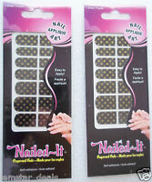 Nailed It Nail Applique Decal Art Stick On Nail Strips Black & Gold Polka Dot