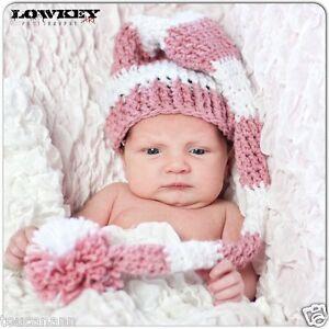 Image is loading CROCHET-BABY-LIGHT-ROSE-LONG-TAIL-ELF-HAT- d9c5cb50bac2