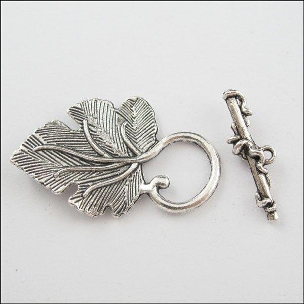 15 sets Tibetan Silver large leaf toggle clasps FC5108