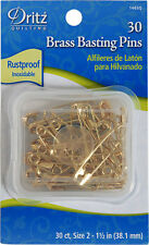 Size 2 Quilter's Brass Basting Safety Pins Dritz Rustproof 30 pcs size2, 1-1/2""