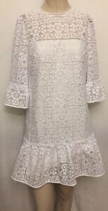 94dc5db6fc99 Kate spade white lace flounce shift dress, Size 2 716454351215 | eBay