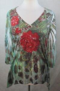 DRESSBARN-Womens-Blouse-Shirt-Top-Size-L-Embellished-Asymmetric-Boho-D703