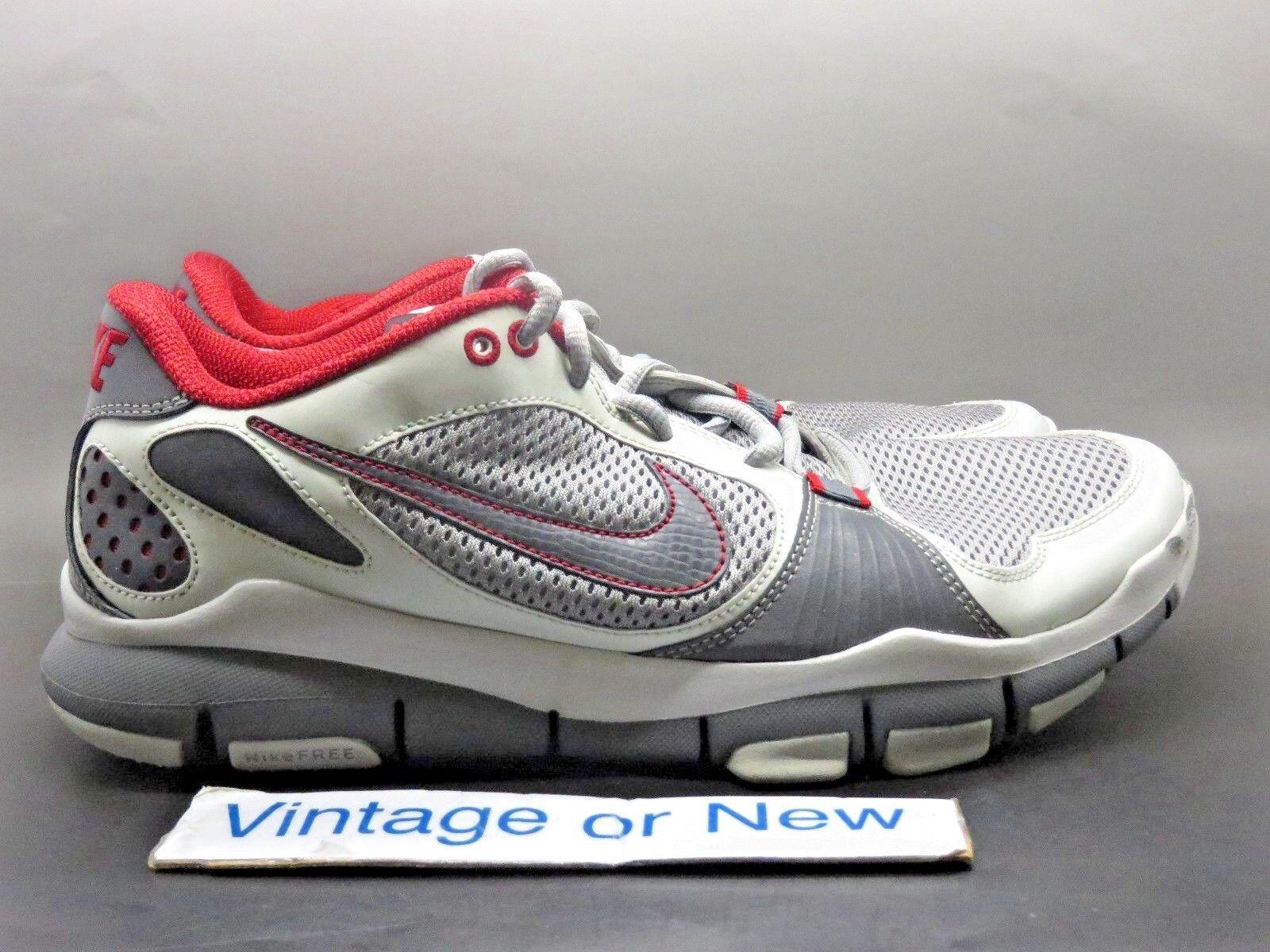 Men's Nike Free TR Dark Grey Red Light Grey Training Shoes 395928-006 sz 10