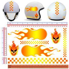 adesivi casco fiamme striscia quadri teschio sticker helmet fire skull 7 pz.