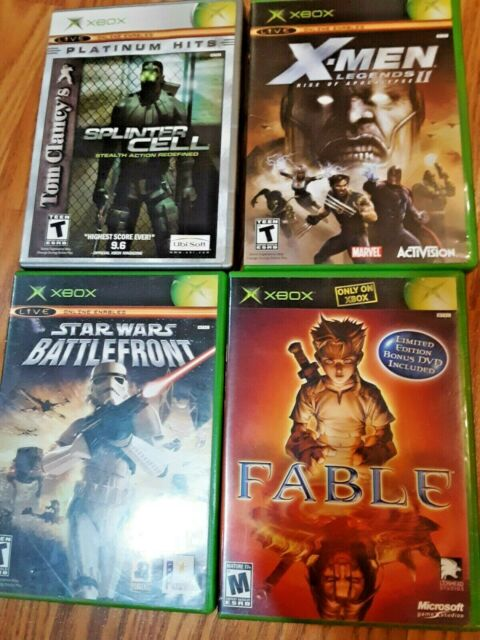 Lot of 4 xbox video games X-Men, Fable, splinter cell, star wars