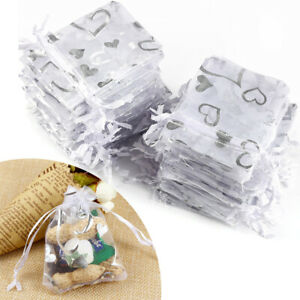 100// 25 Organza Gift Bags Jewellery Pouch Wedding Party Candy Favour 25-40CM